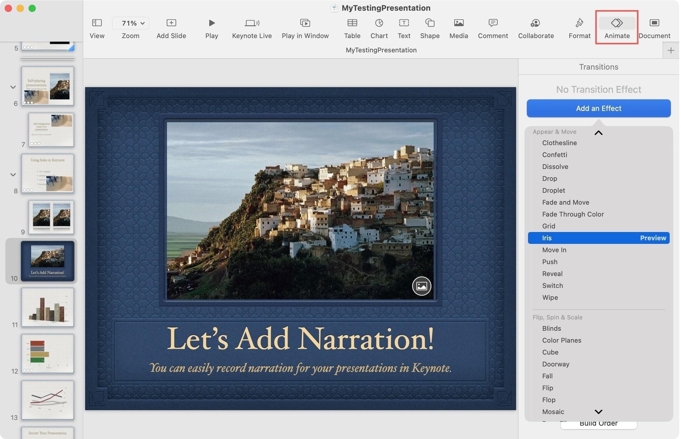 Add Transition Effect in Keynote on Mac