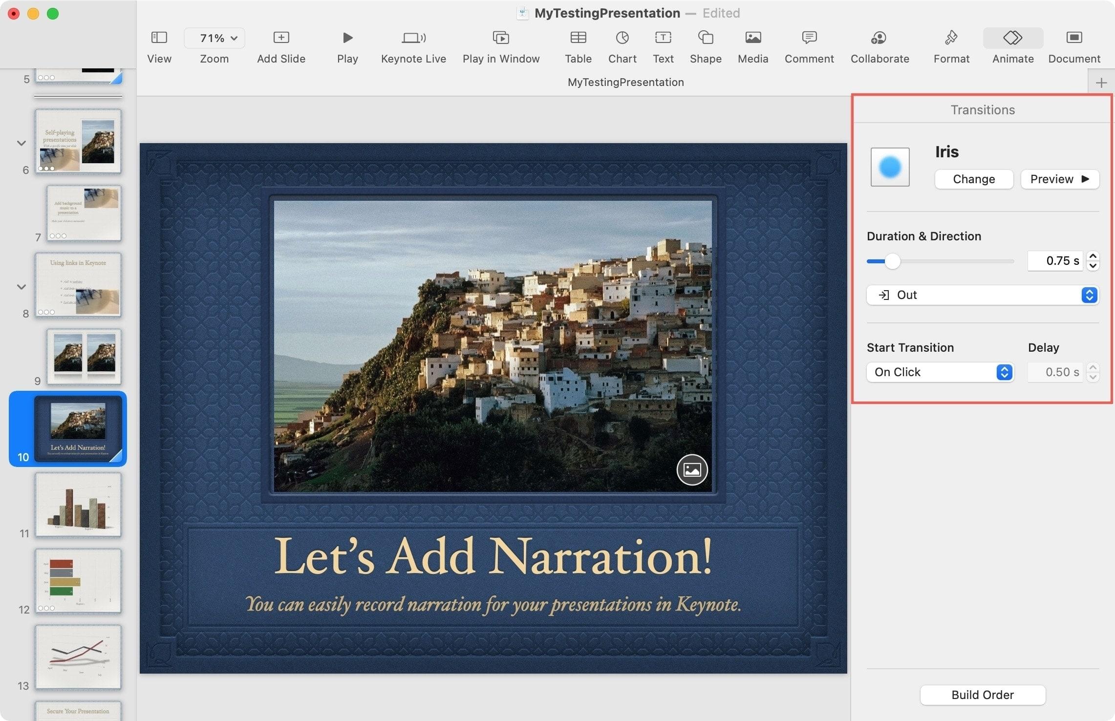 Adjust an Effect on Keynote on Mac