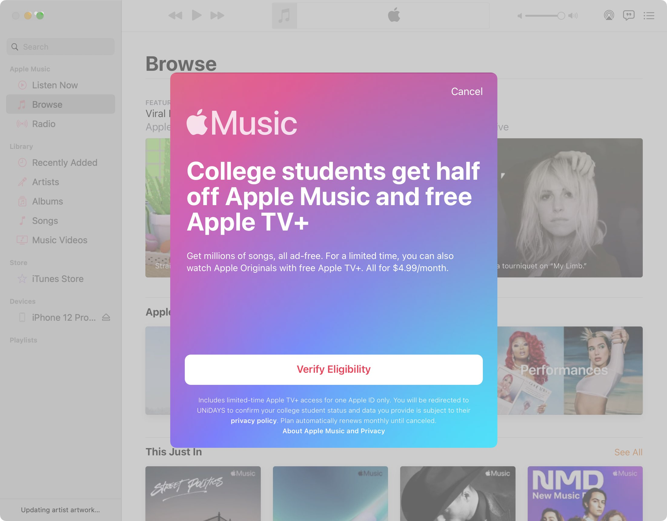 A screenshot of the Music app for the Mac showing a splash screen advertising Apple Music's time-limited promotion for students