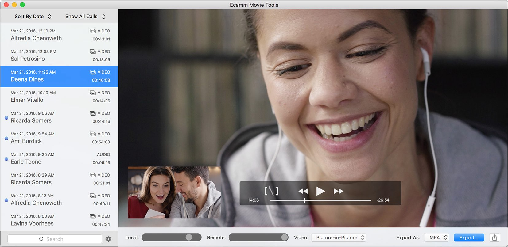 A macOS screenshot showing exporting captured videos in the Call Recorder app