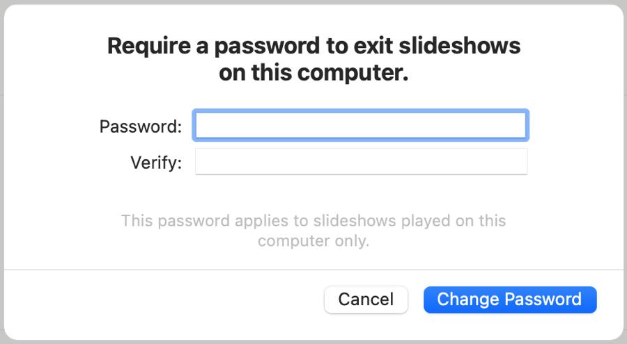 Change Password to Exit Keynote on Mac