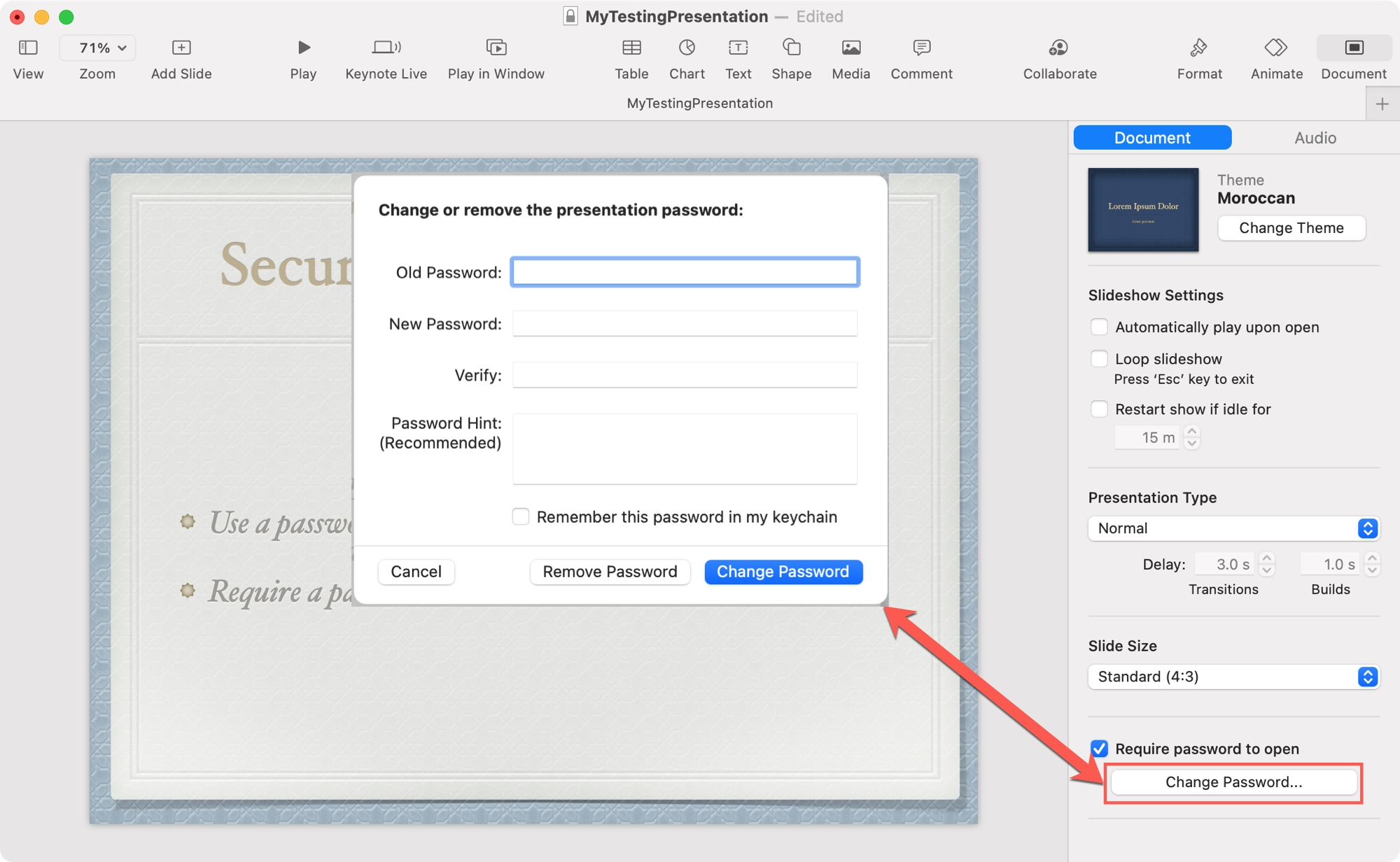 Change Password to Open Keynote on Mac