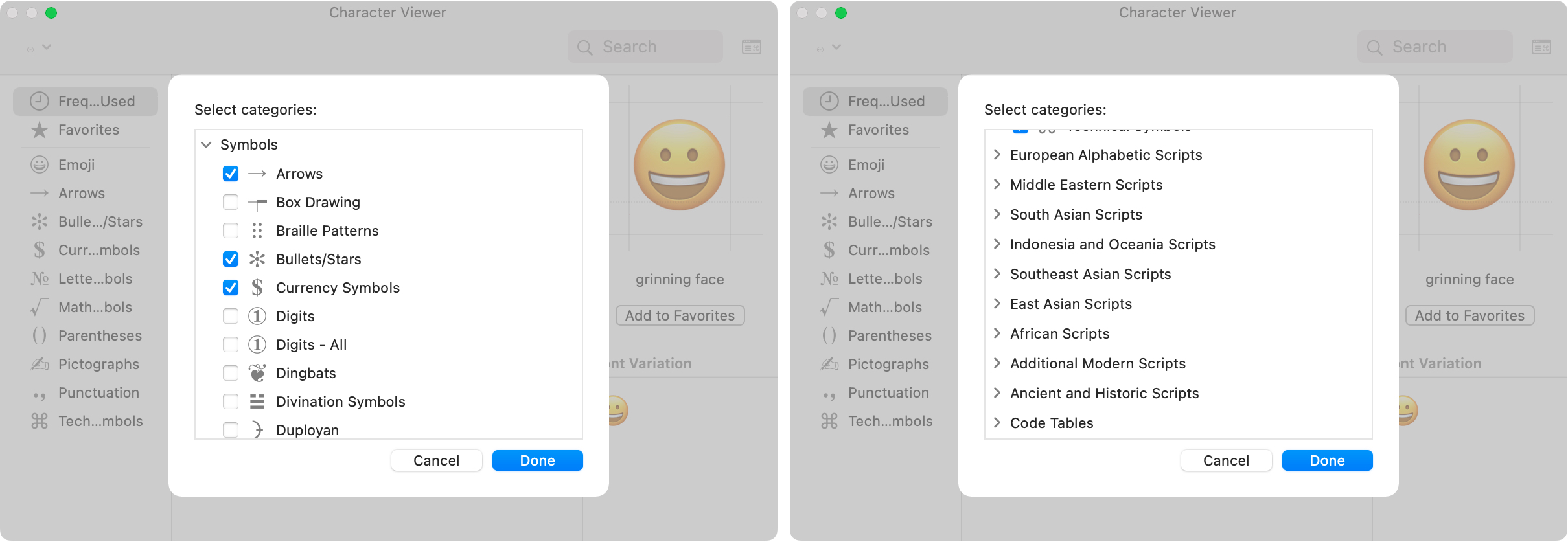Character Viewer Select Categories on Mac