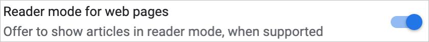 Chrome Enable Reader Mode in Settings