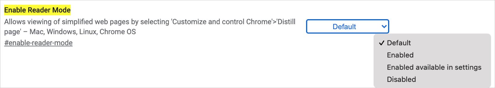 Chrome Enable Reader Mode