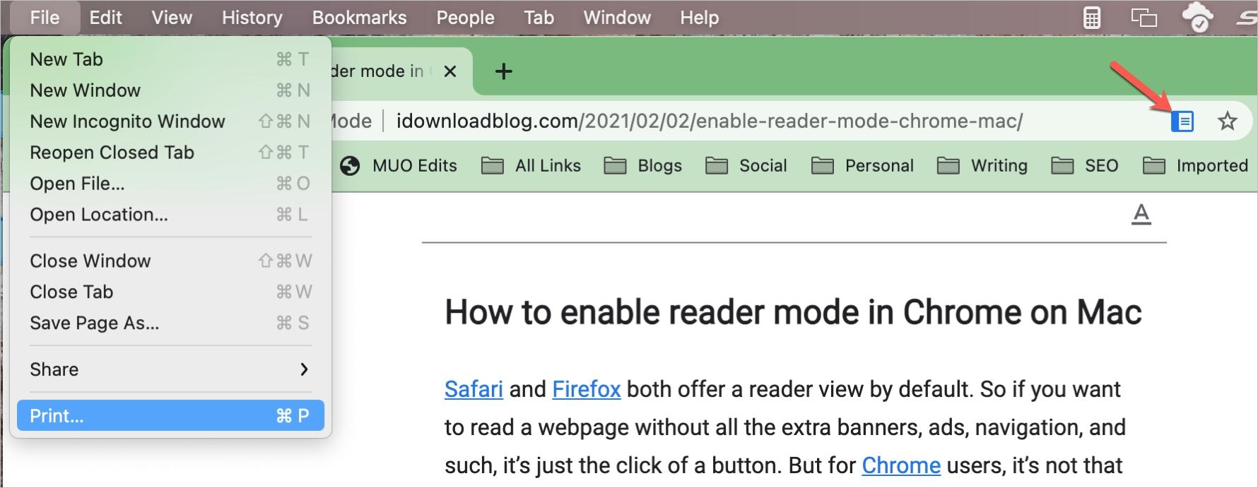 Chrome Reader Mode and Print
