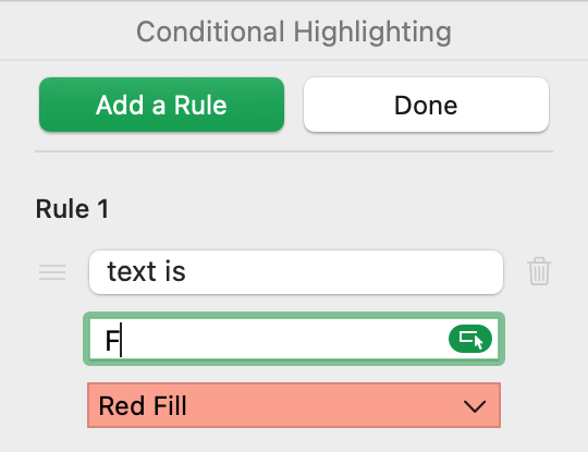 Edit Conditional Highlighting in Numbers on Mac