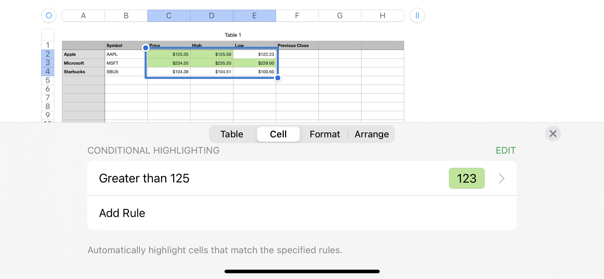 Edit Conditional Highlighting in Numbers on iPhone