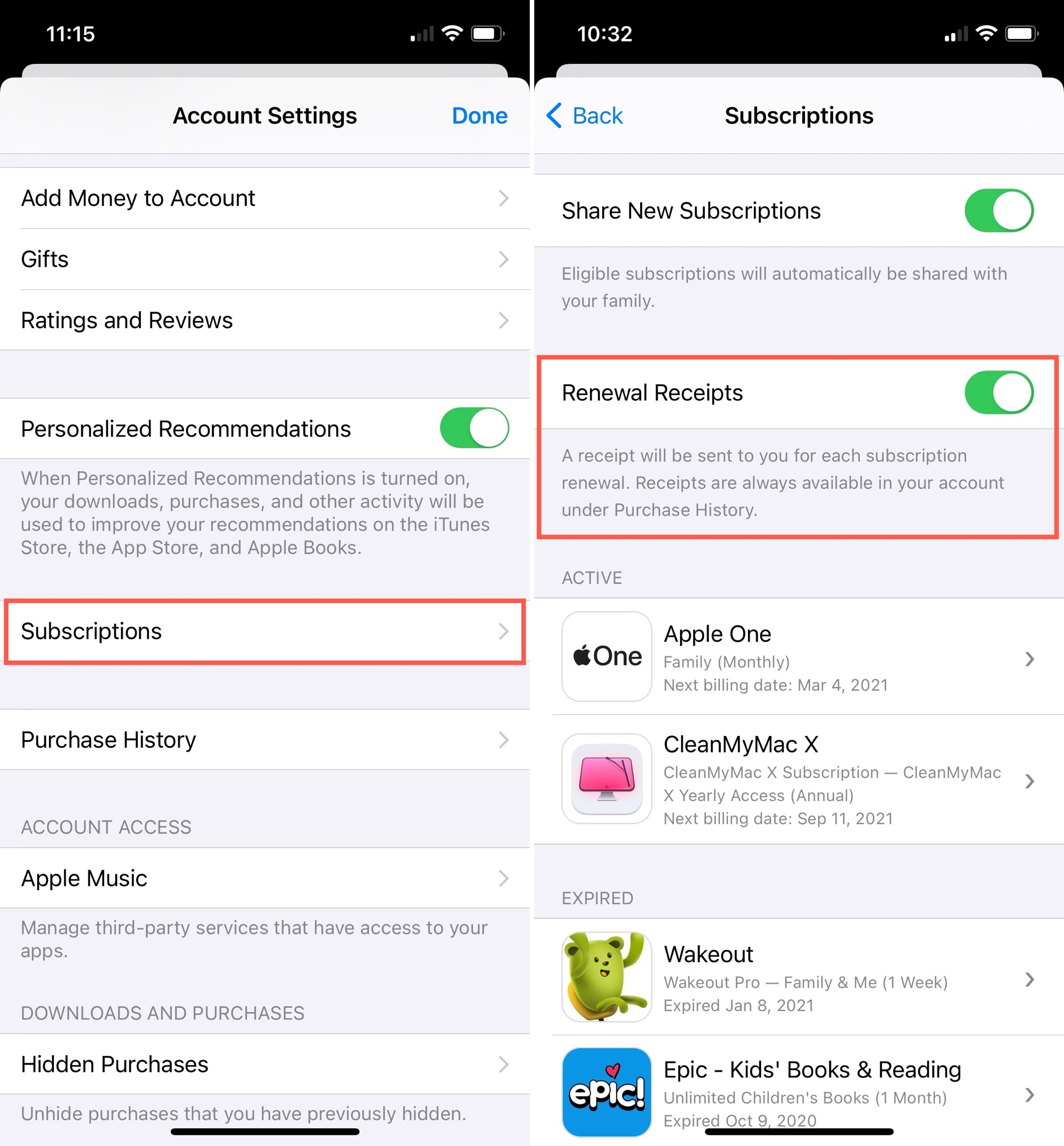 Enable Renewal Receipts on iPhone