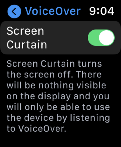 Enable Screen Curtain in Settings on Apple Watch