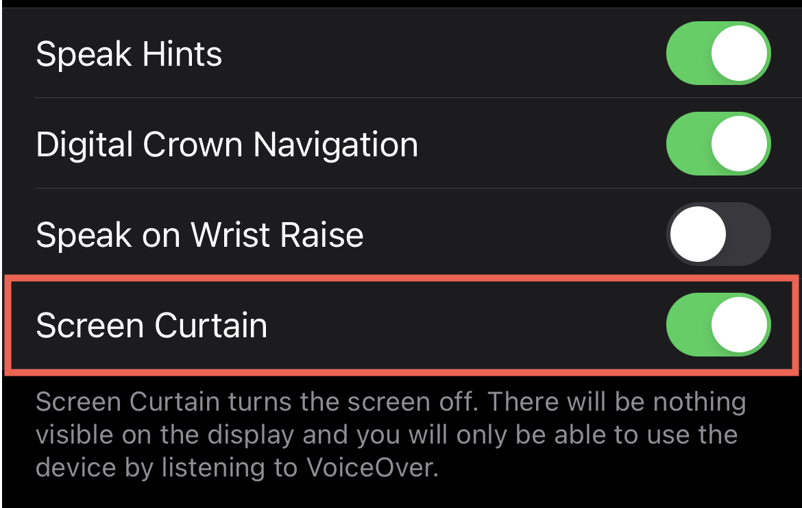 Enable Screen Curtain in Watch on iPhone