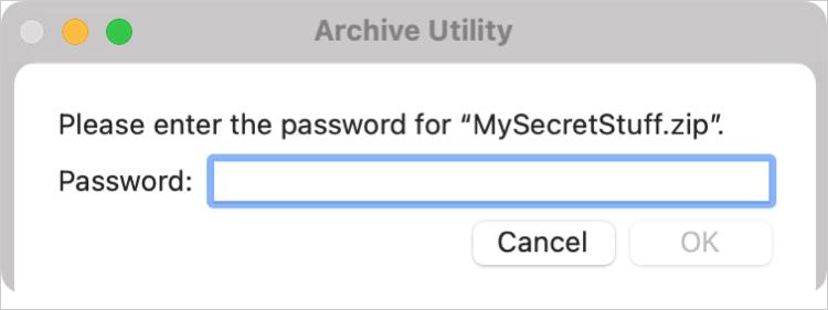 Enter Password for Zip on Mac