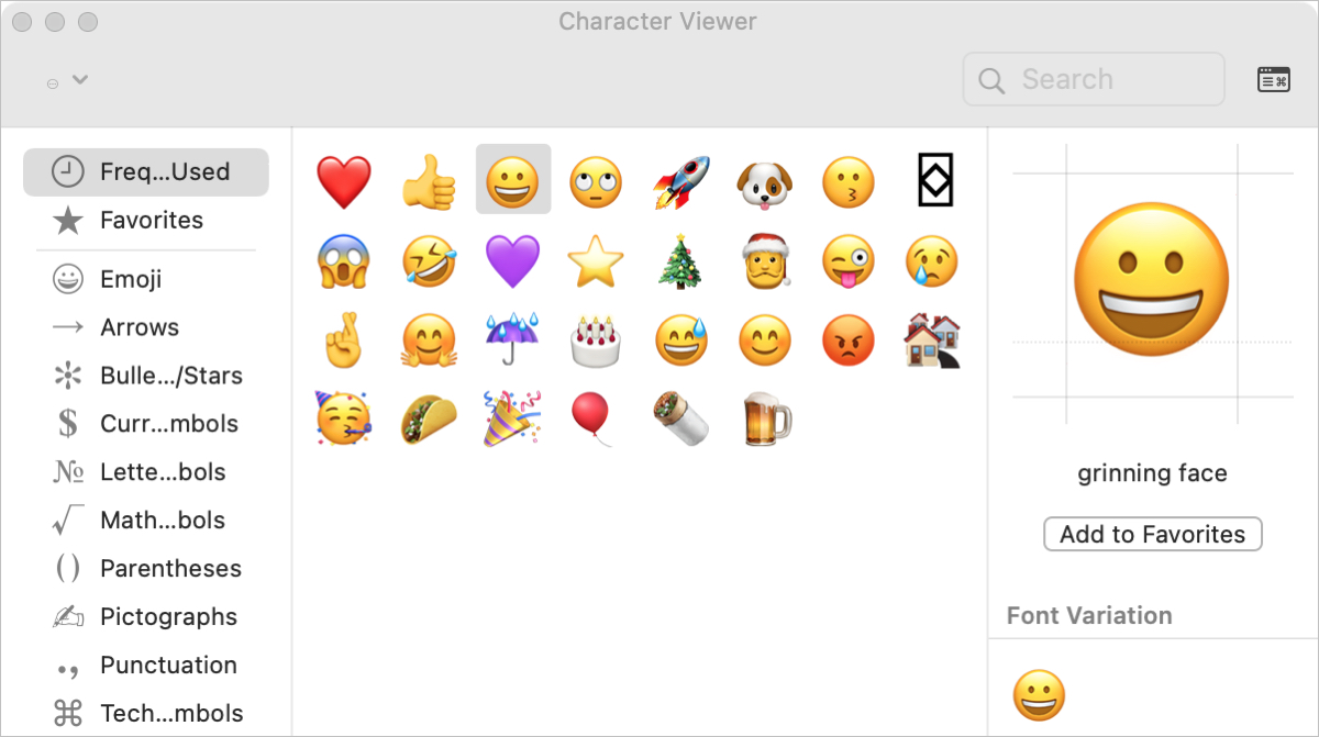 Expanded Character Viewer on Mac