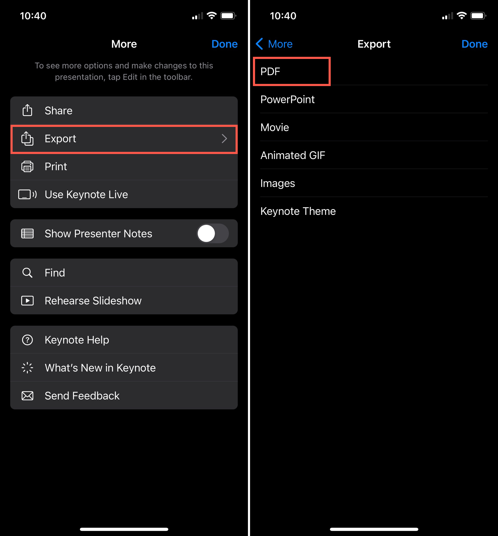 Export a PDF in Keynote on iPhone