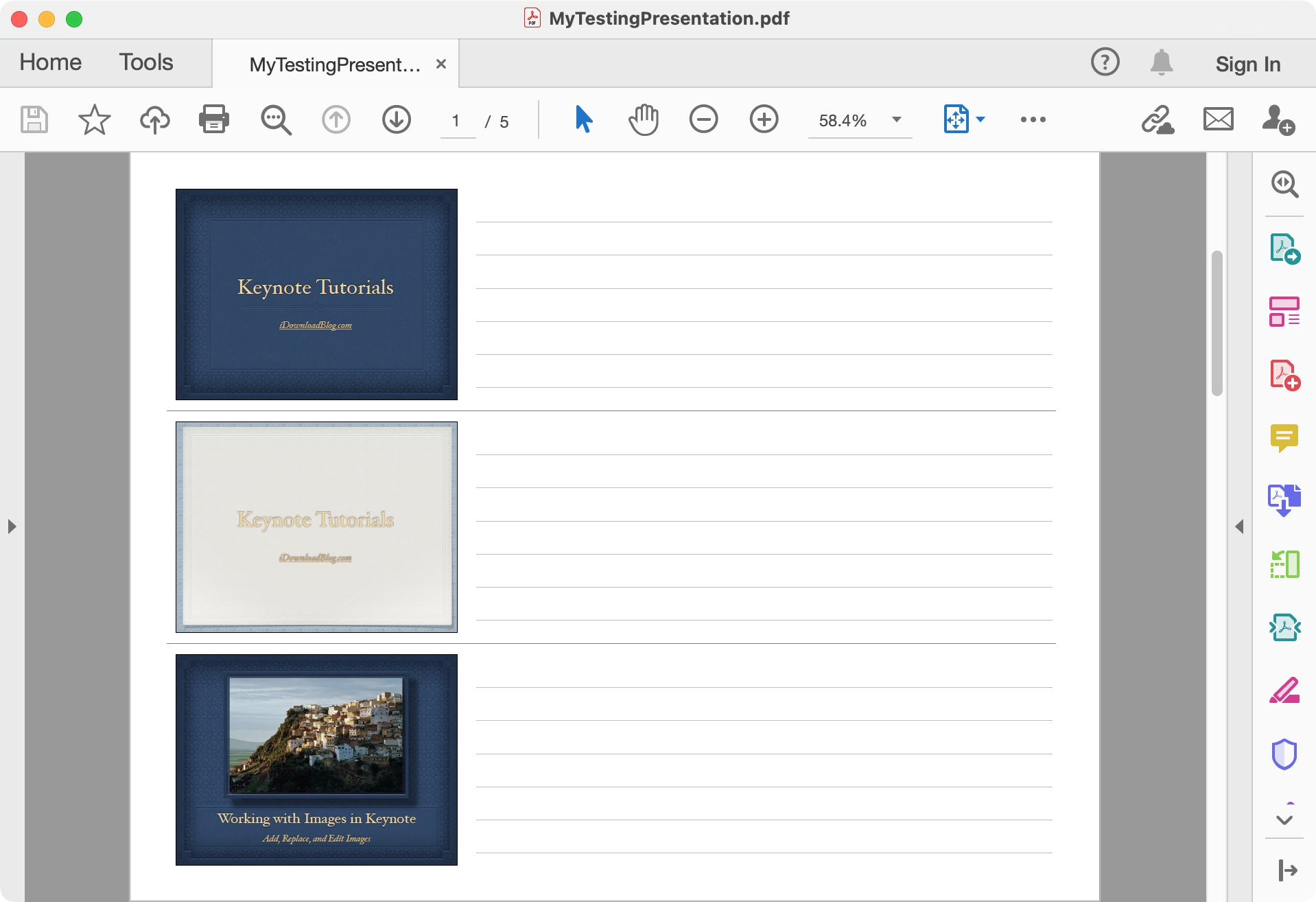 Handout PDF from Keynote