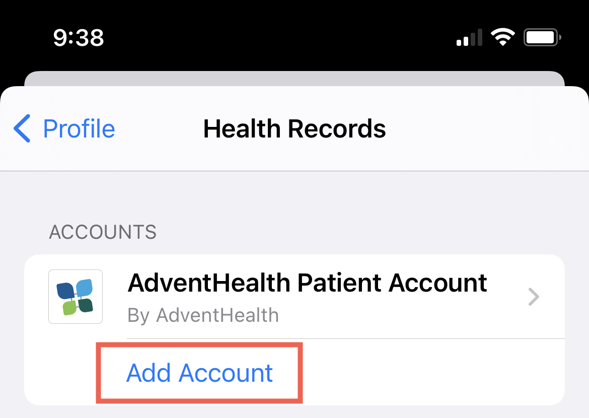 Health Records, Add Account on iPhone