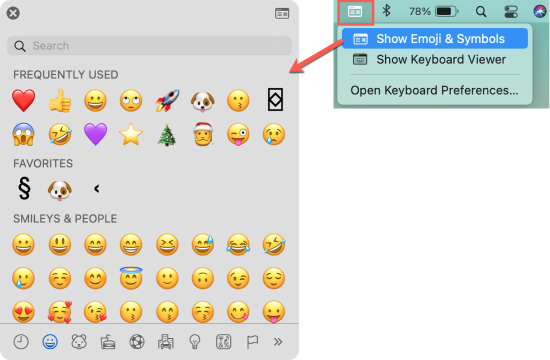 Input in Menu Bar, Show Emojis Symbols