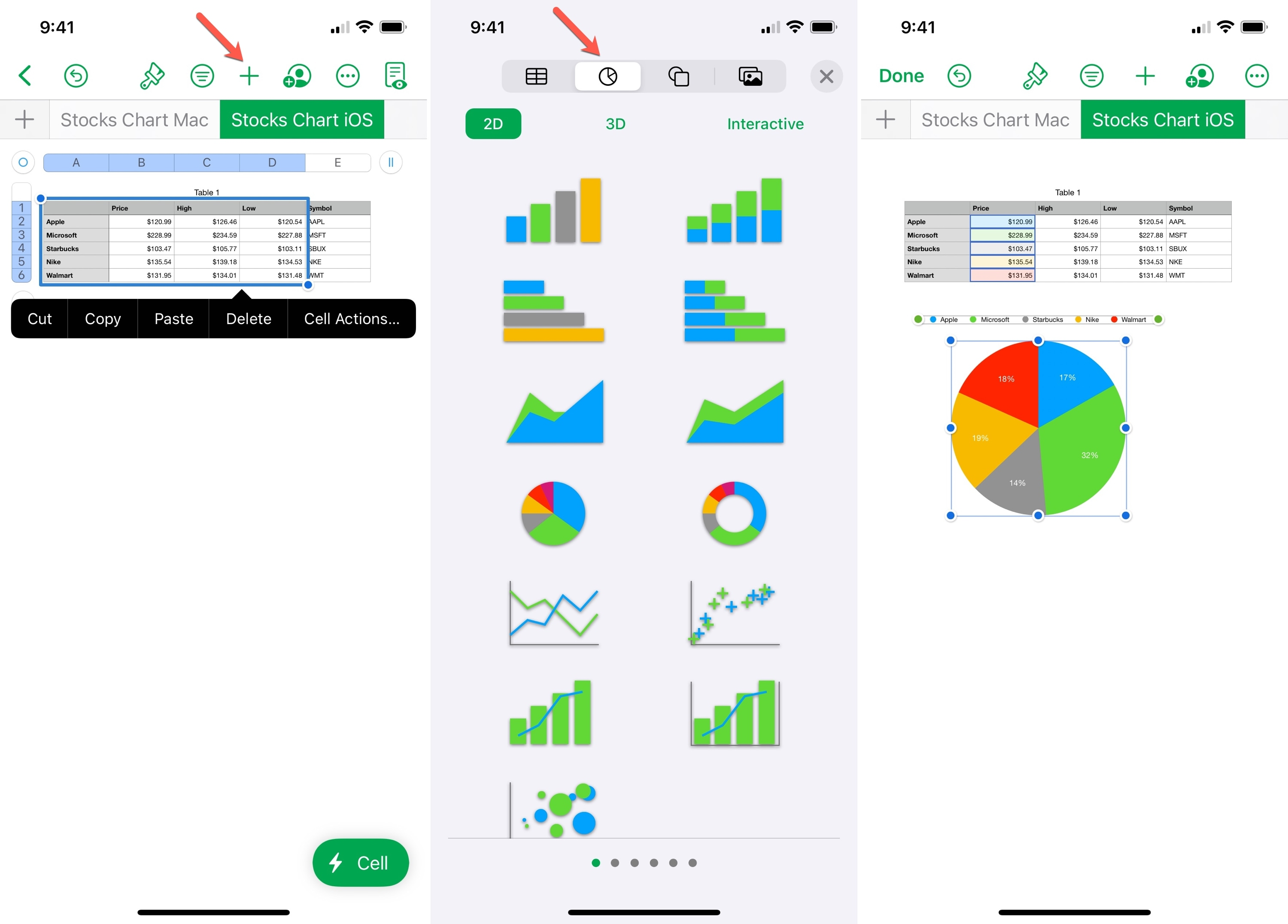 Insert a Chart in Numbers on iPhone