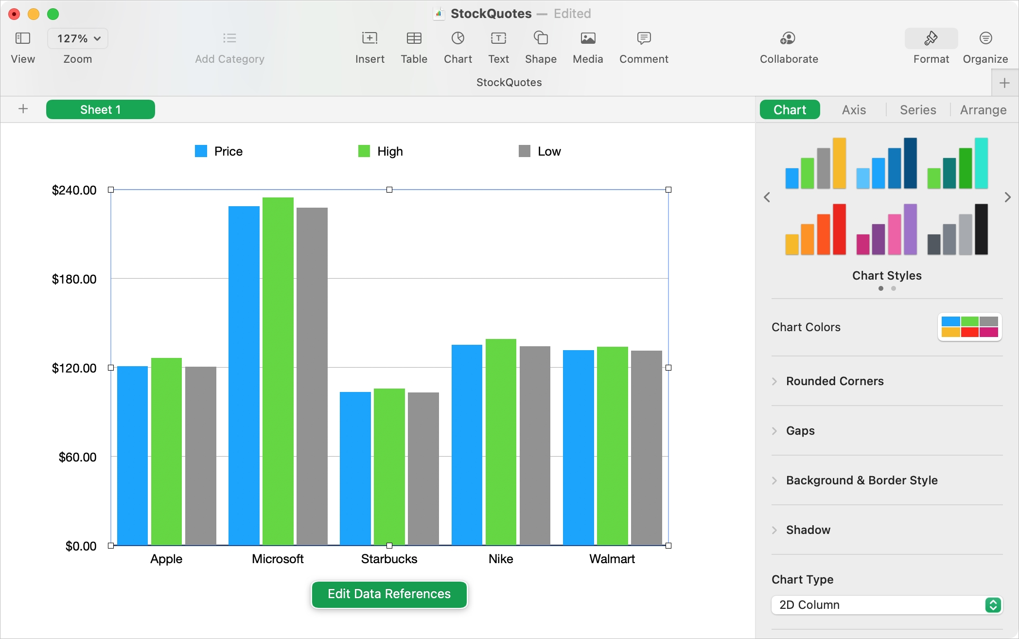 Insert Format and Edit a Chart in Numbers on Mac