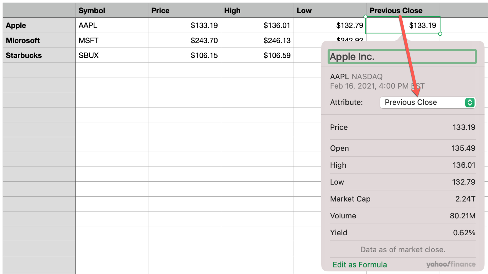 Label for Stock Quote in Numbers on Mac
