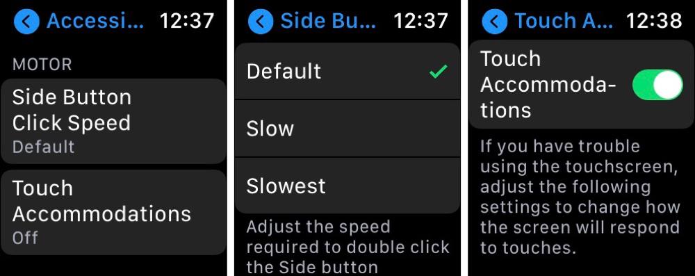 Motor Skill Settings Apple Watch
