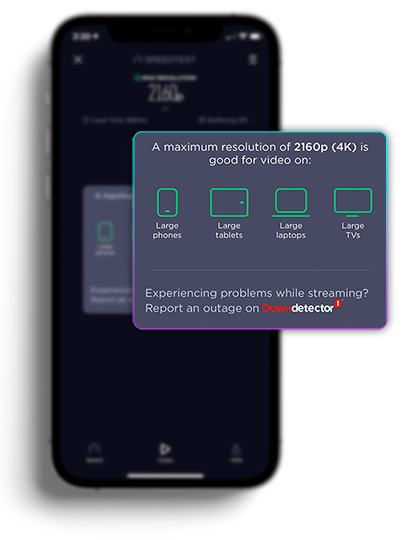 A screenshot showing results of the the video test feature in Ookla's Speedtest app along with recommended devices that work best at that performance level