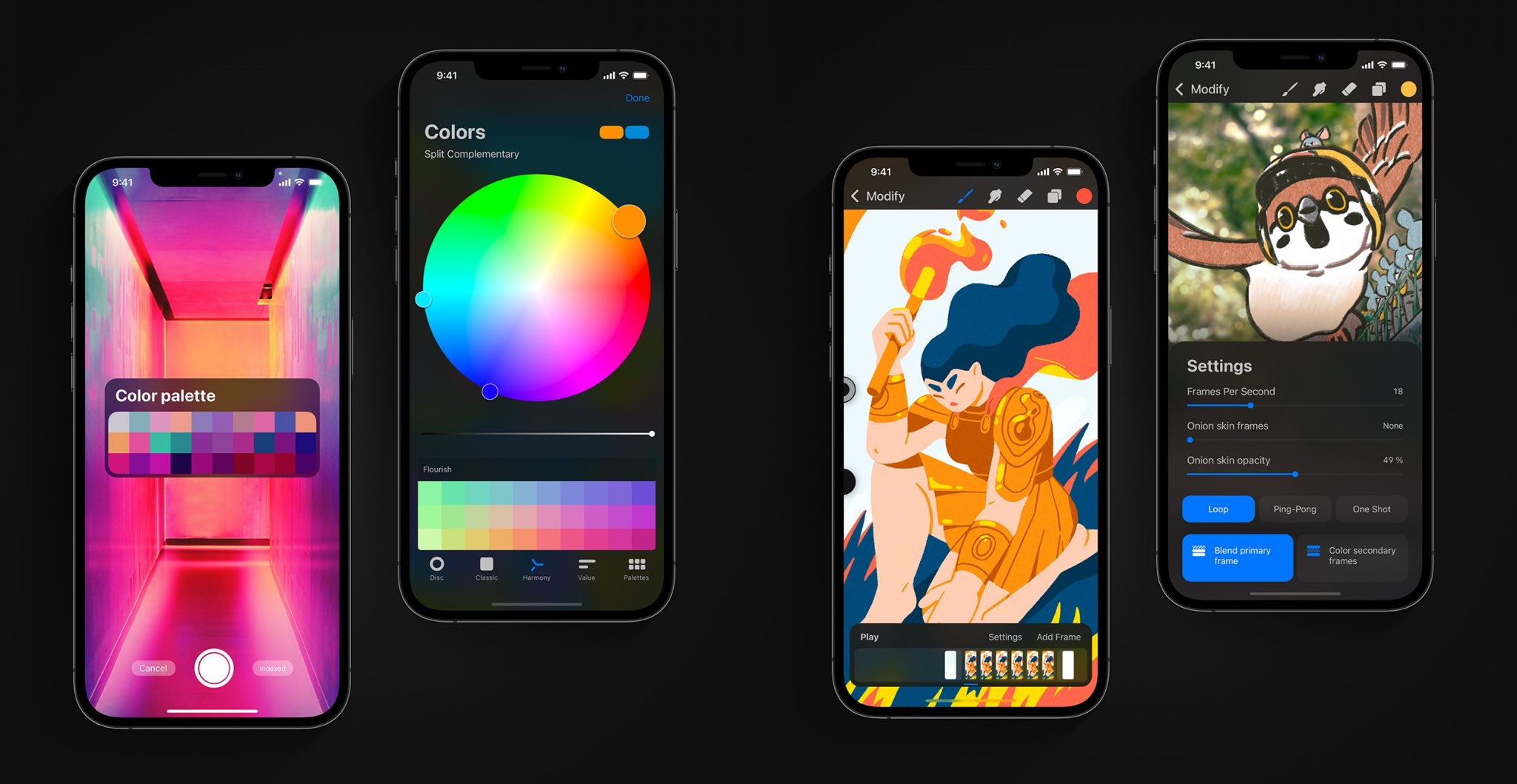 A screenshot collage showing off various new features in Procreate Pocket 4.0 or iPhone