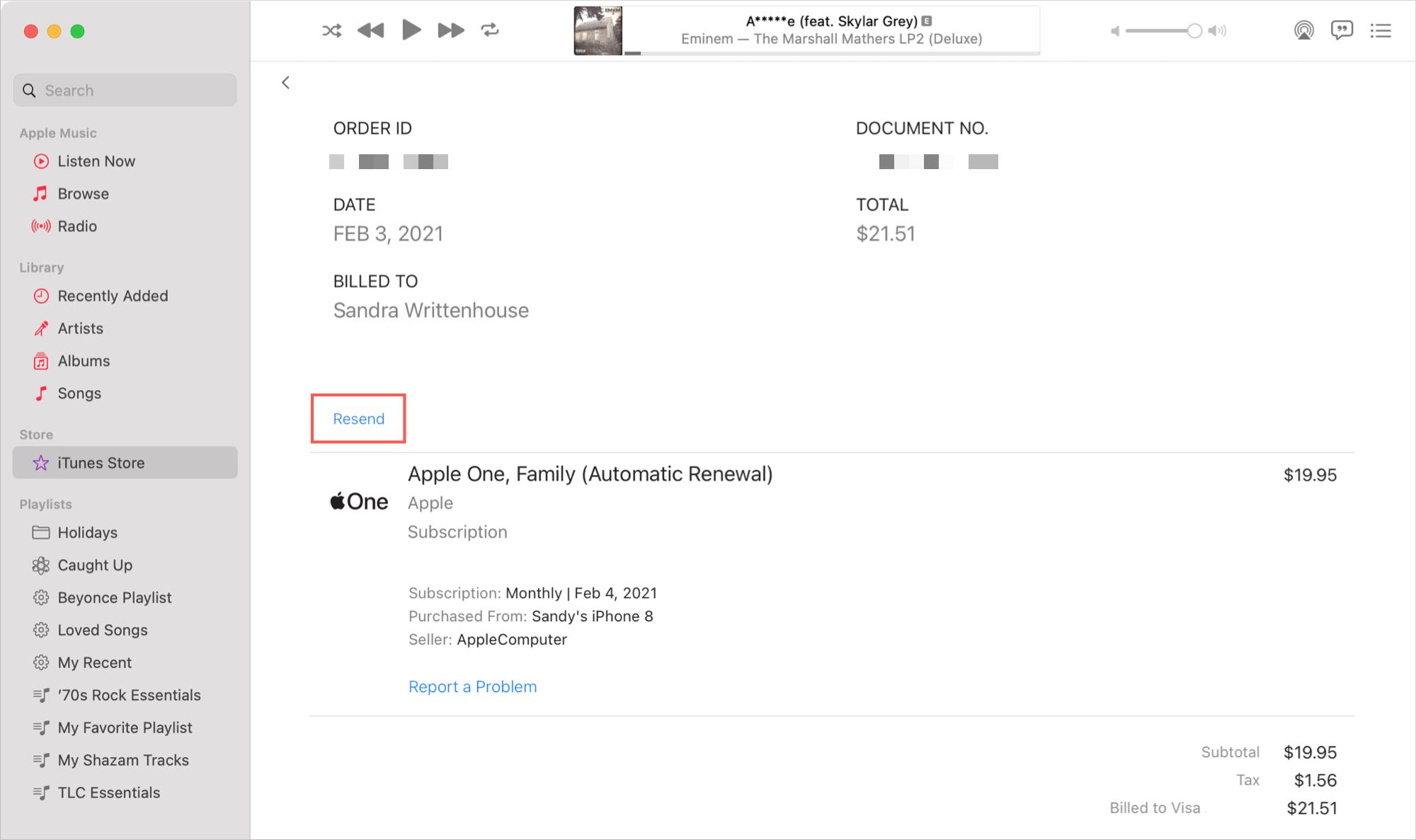 Purchase Receipt on Mac