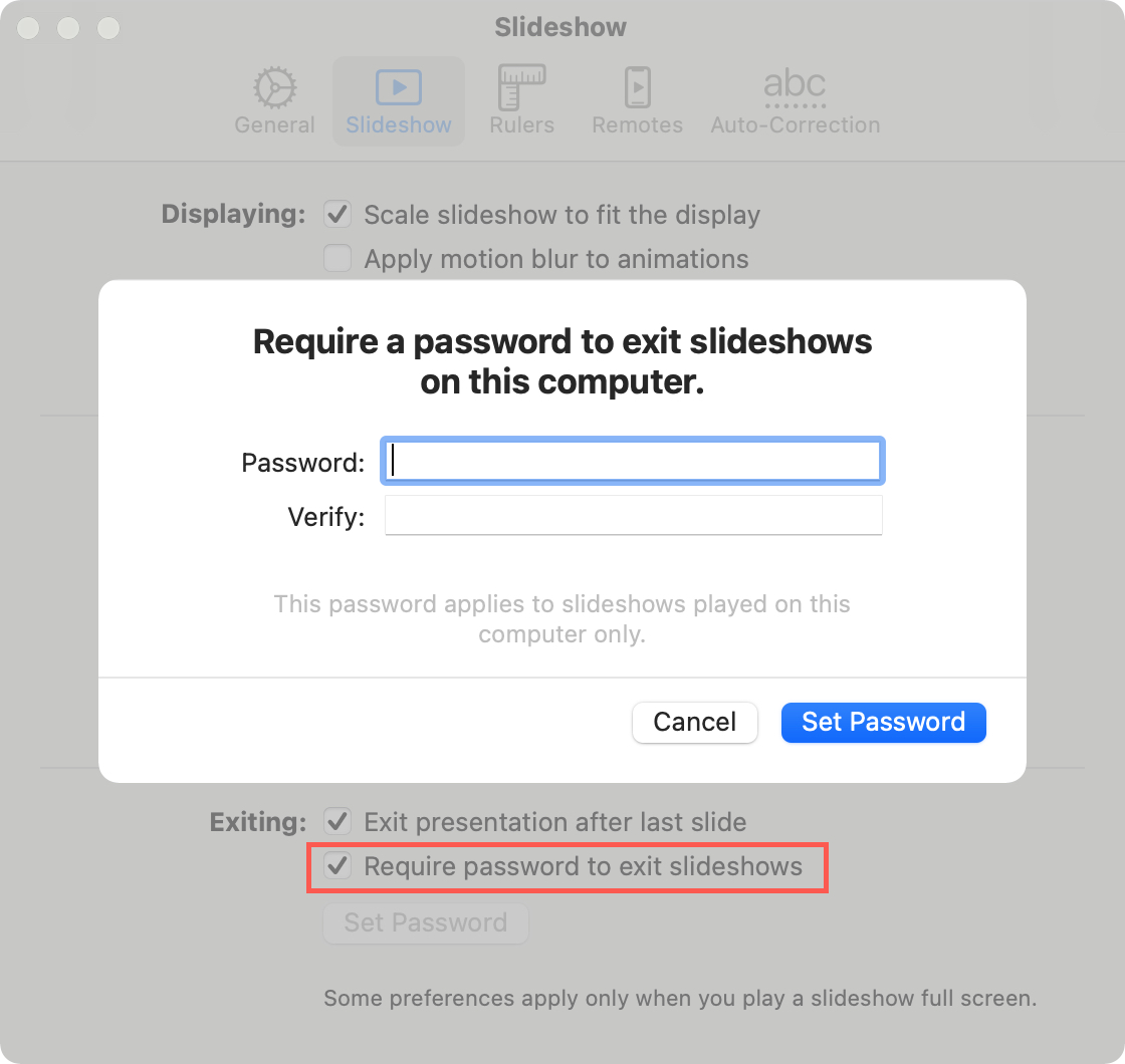 Require Password to Exit Keynote on Mac