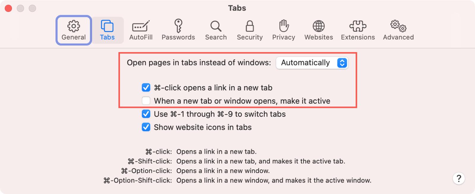 Safari New Tab Preferences on Mac