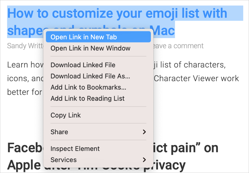 Safari Open Link in New Tab on Mac
