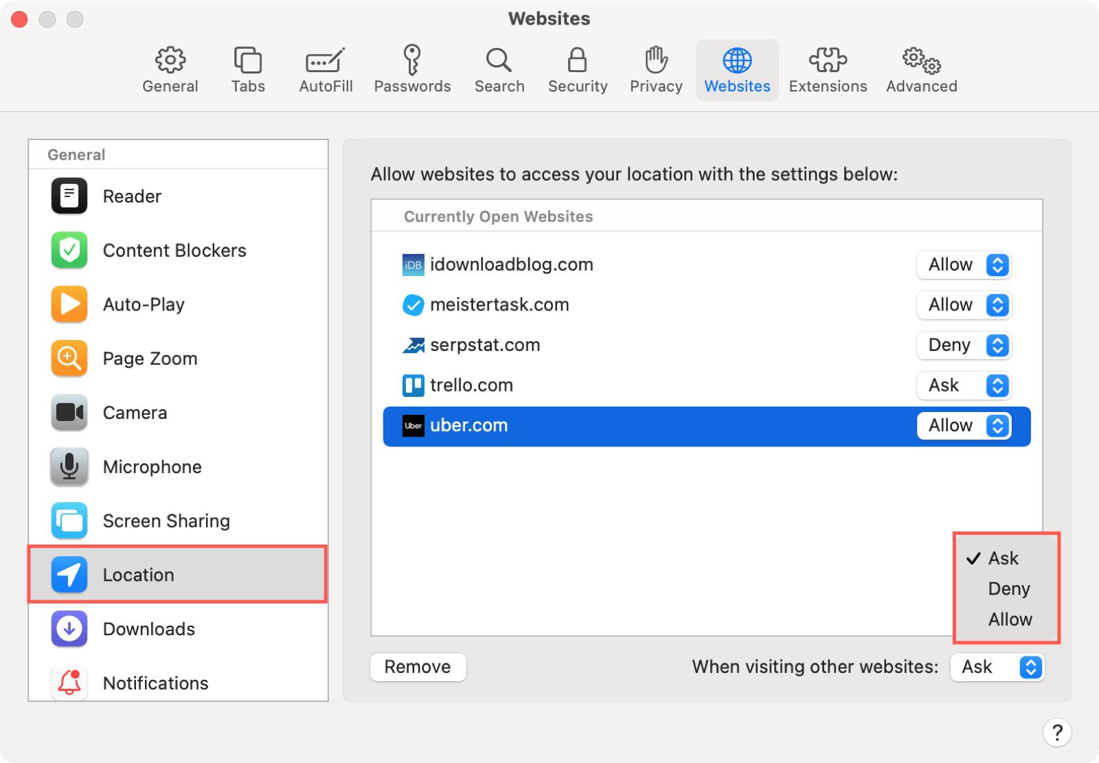 Safari Preferences Websites Location on Mac