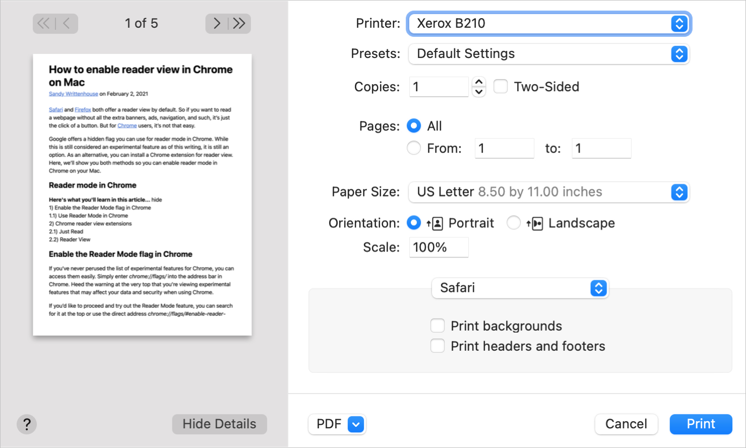 Safari Print Web Pages without Ads on Mac