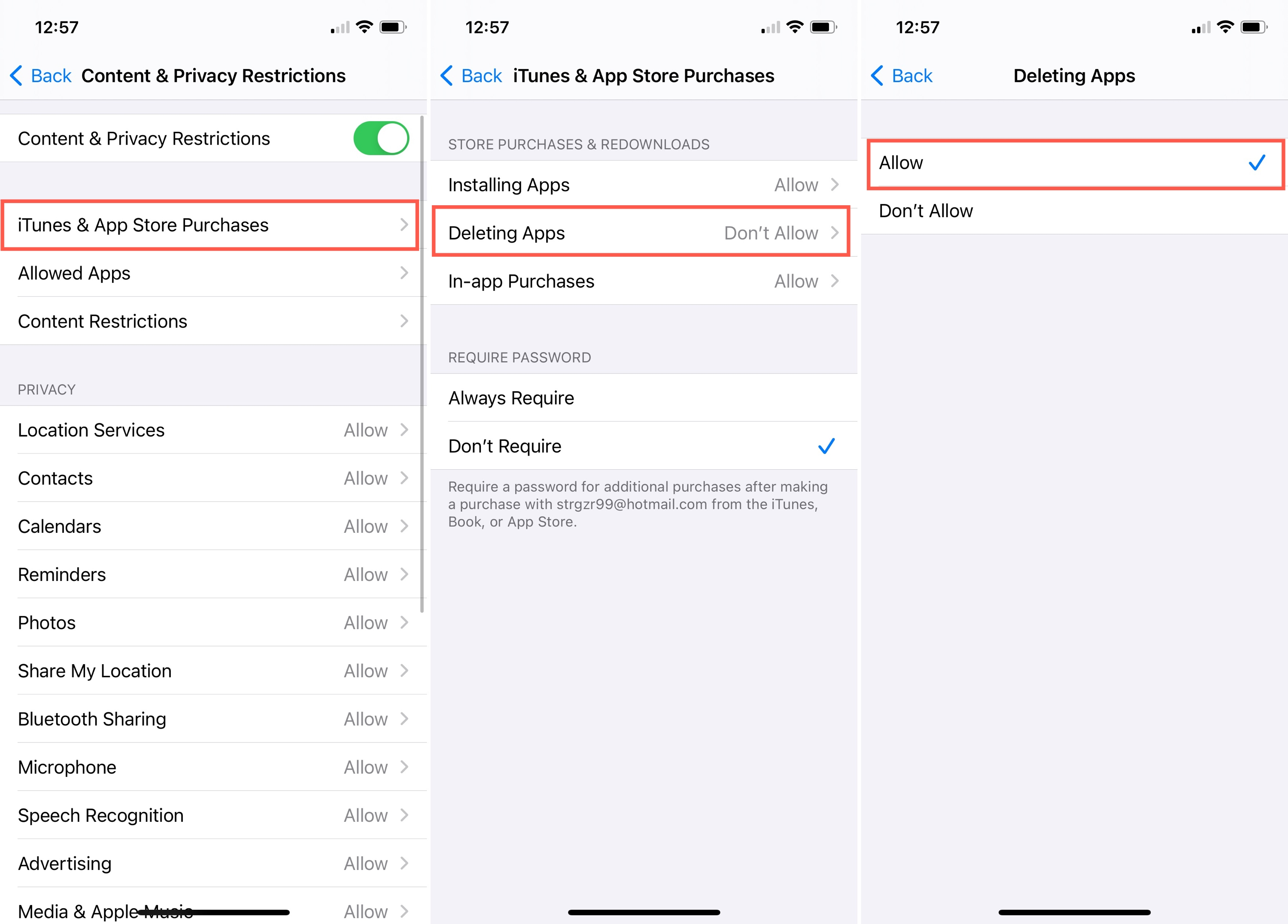 Screen Time Dont Allow App Deletions