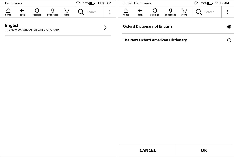 Set Dictionaries Kindle Paperwhite