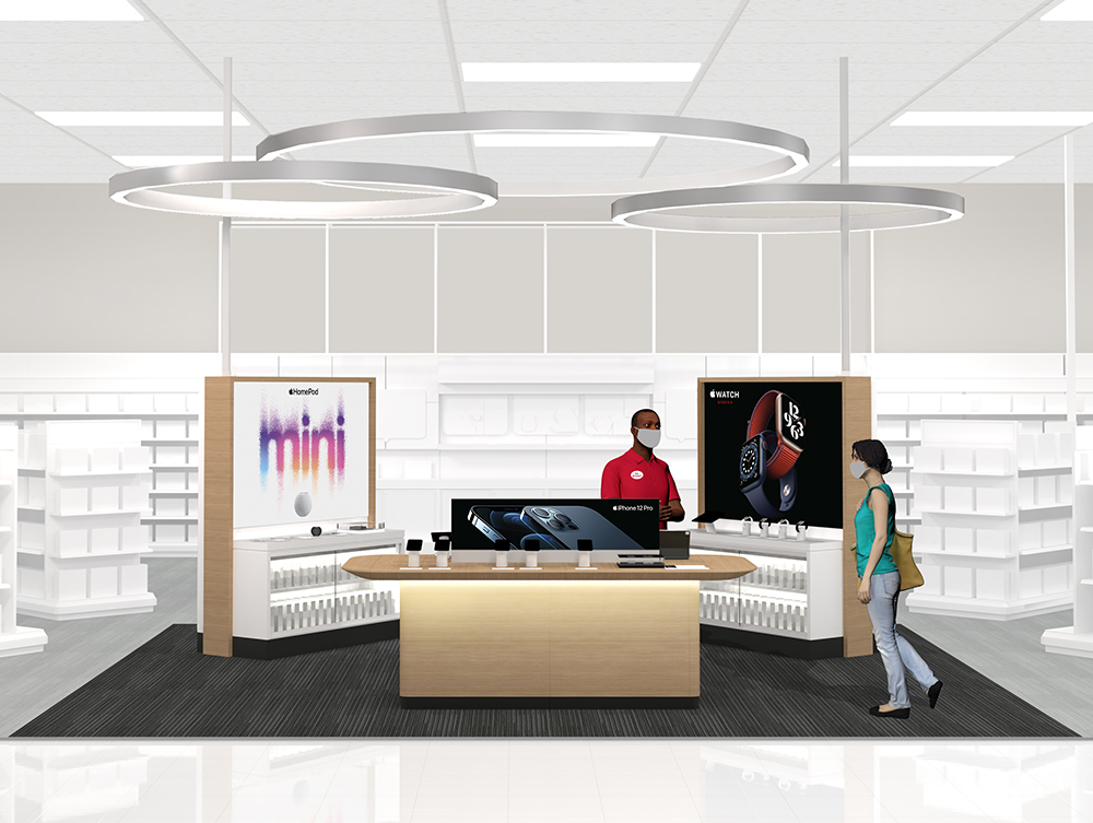 A concept image from Target illustrating the new Apple shopping experience available in select Target locations.