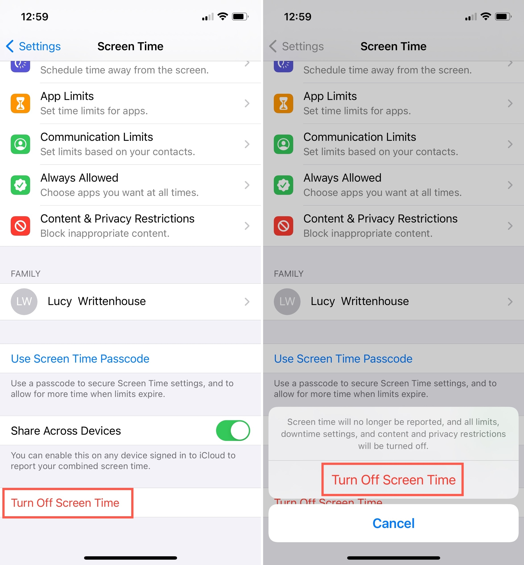 Turn Off Screen Time and Confirm on iPhone
