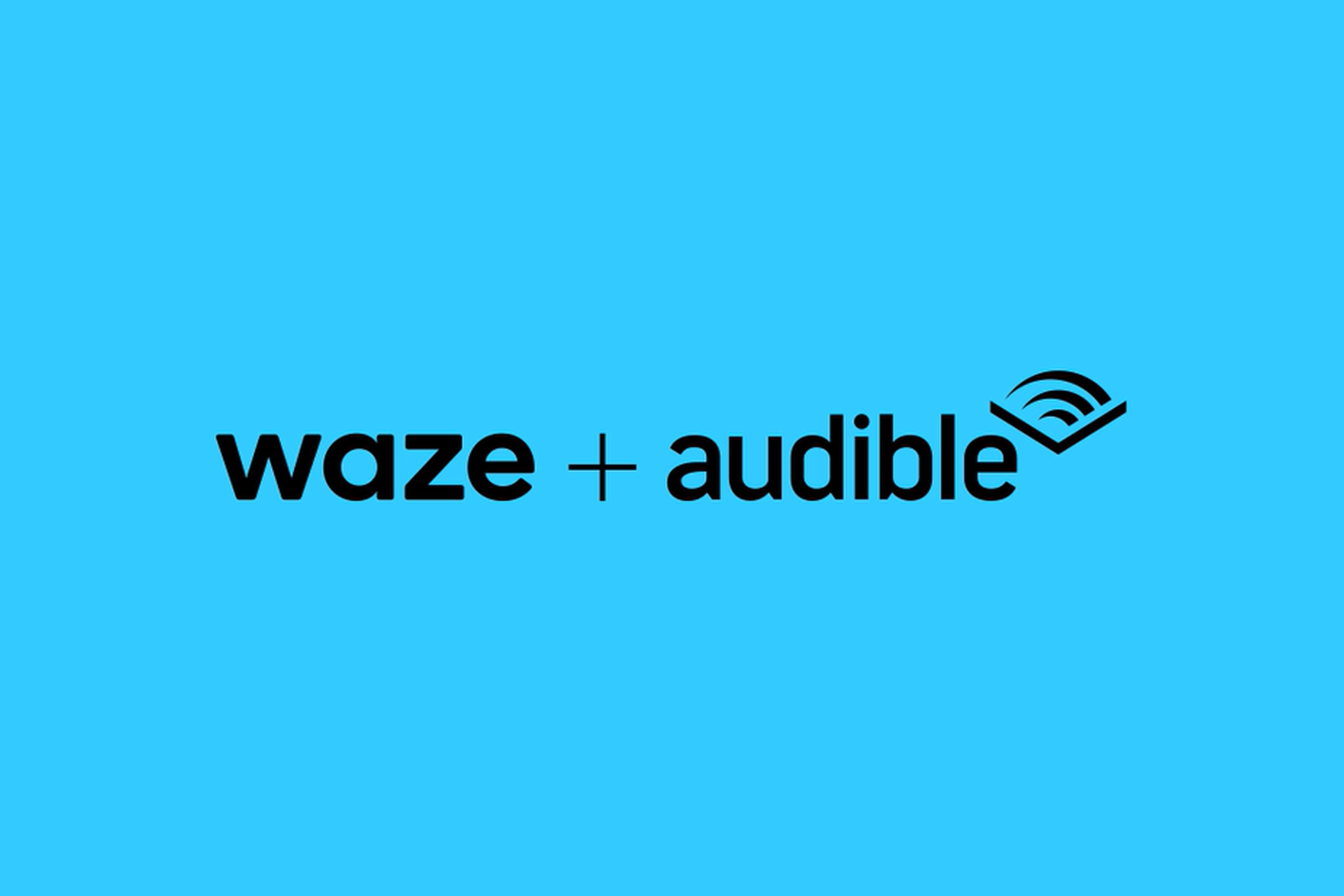 An image showing the black Waze and Audible logos set against a bright blue background