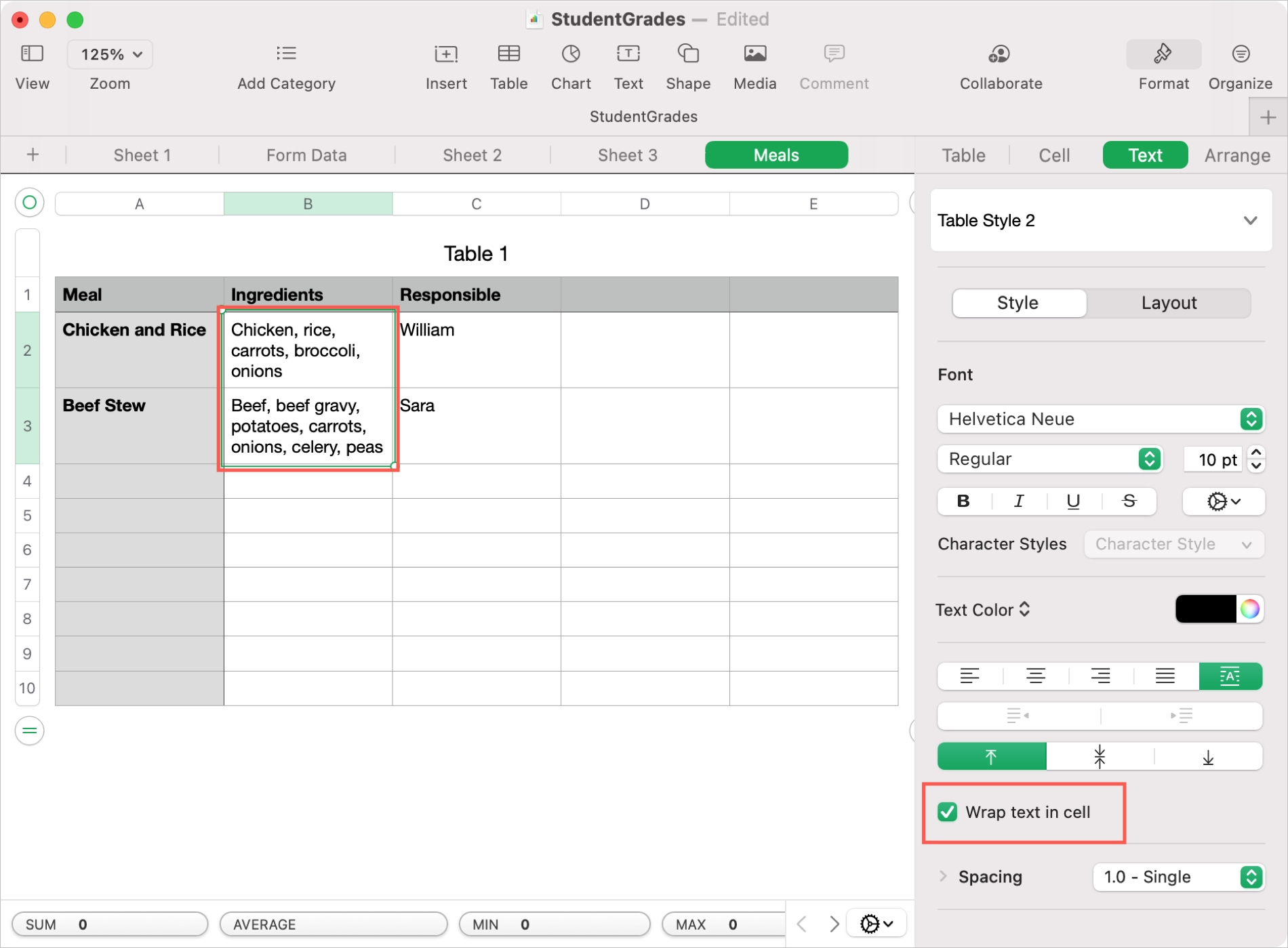 Wrap Text in Cell in Numbers on Mac
