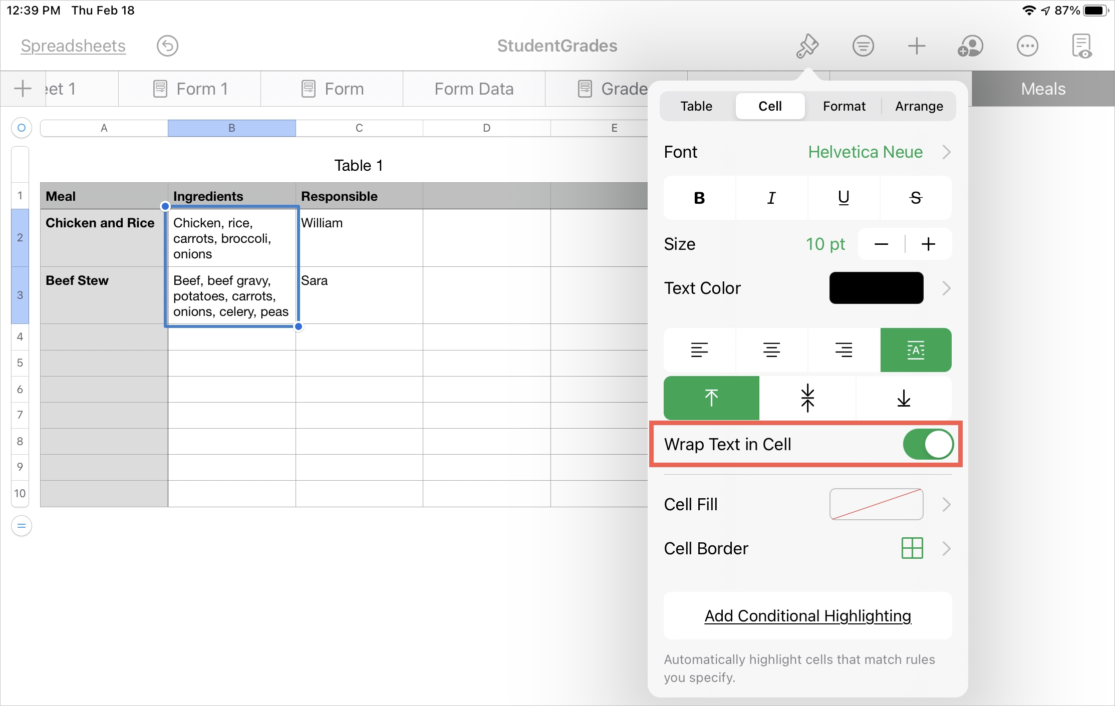Wrap Text in Cell in Numbers on iPad