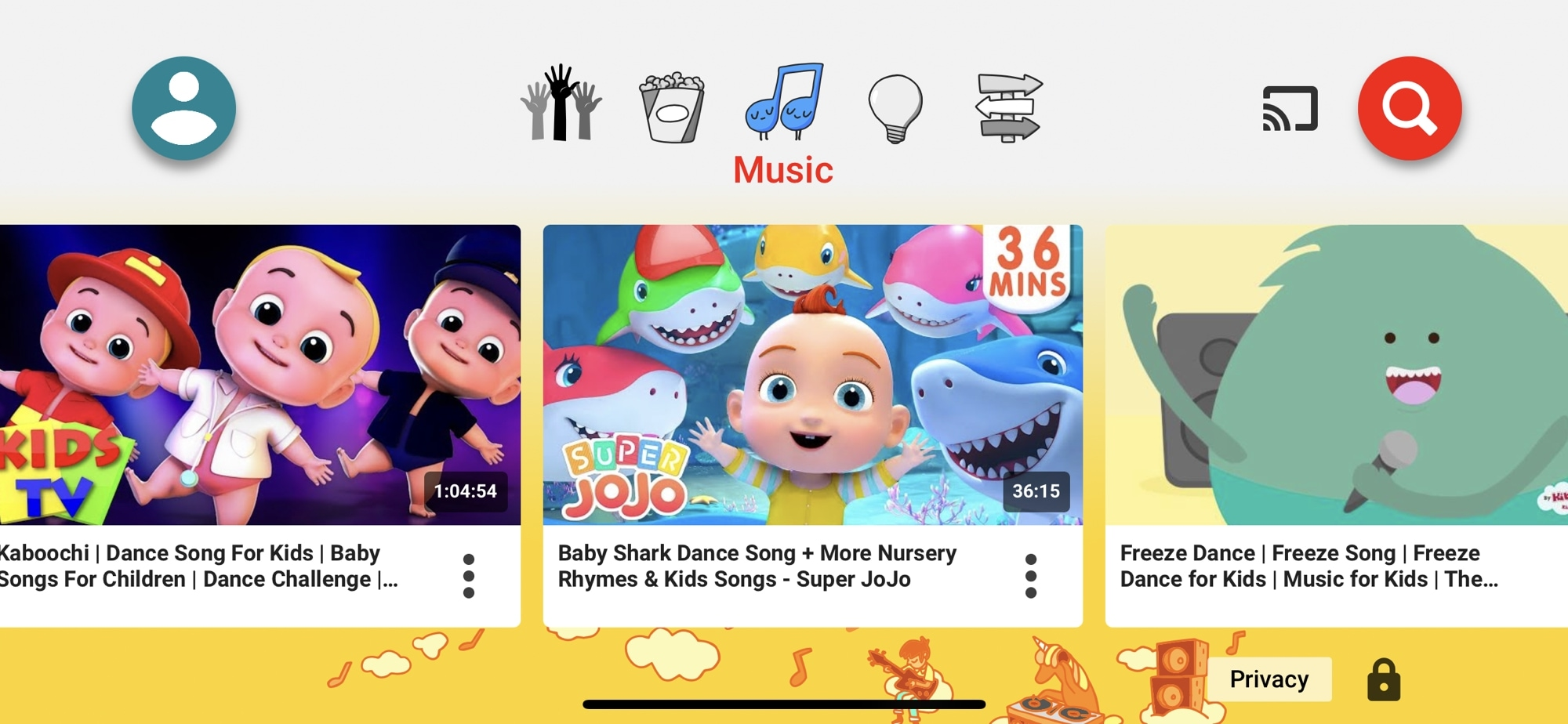 YouTube Kids Music on iPhone