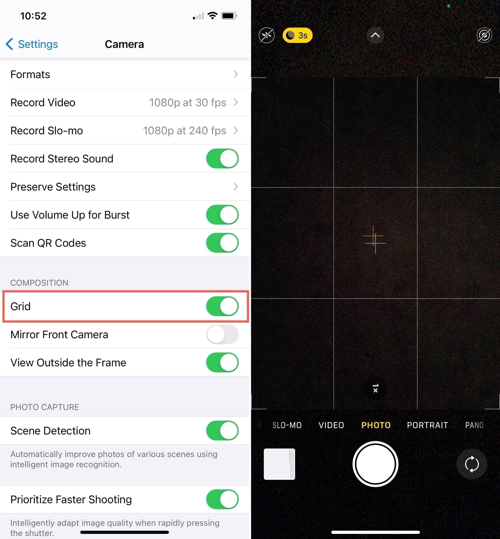 Photography Tips for iPhone, Camera Grid On