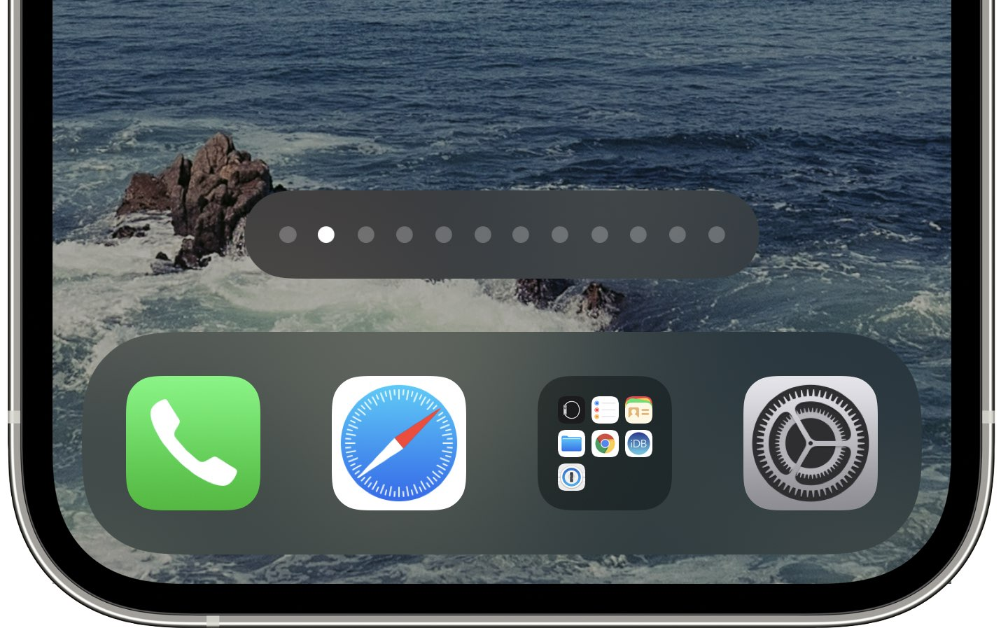 An iPhone screenshot showing the Home Screen with the dots at the bottom