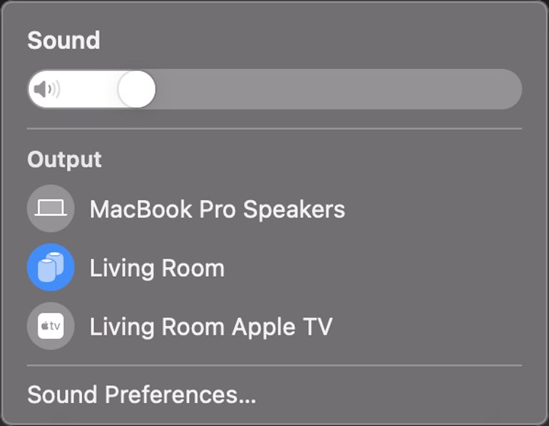 A screenshot of the sound output option in the Mac user interface in the first beta of macOS 11.3 showing a HomePod stereo pair