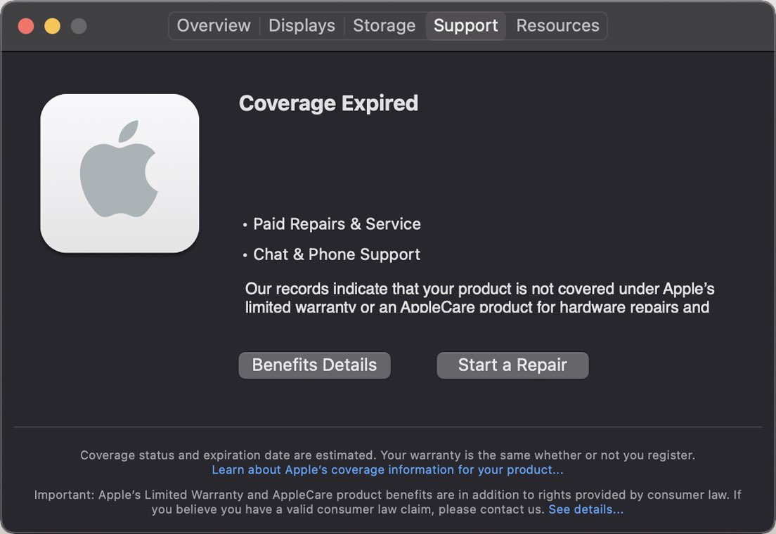 A Mac screenshot showing a new Support menu in macOS 11.3 listing the user's Apple coverage information