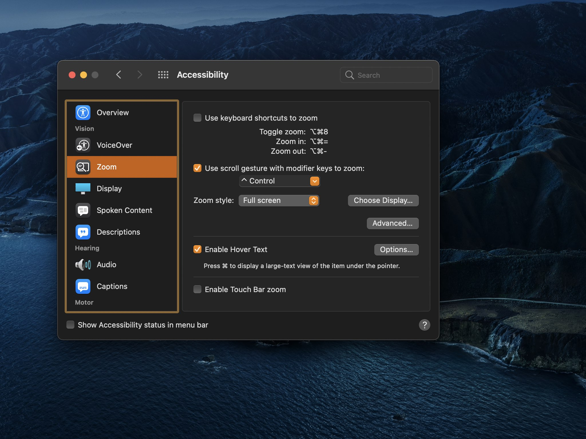 A screenshot showing the Mac Hover Text option enabled in the Accessibility preferences on macOS Big Sur