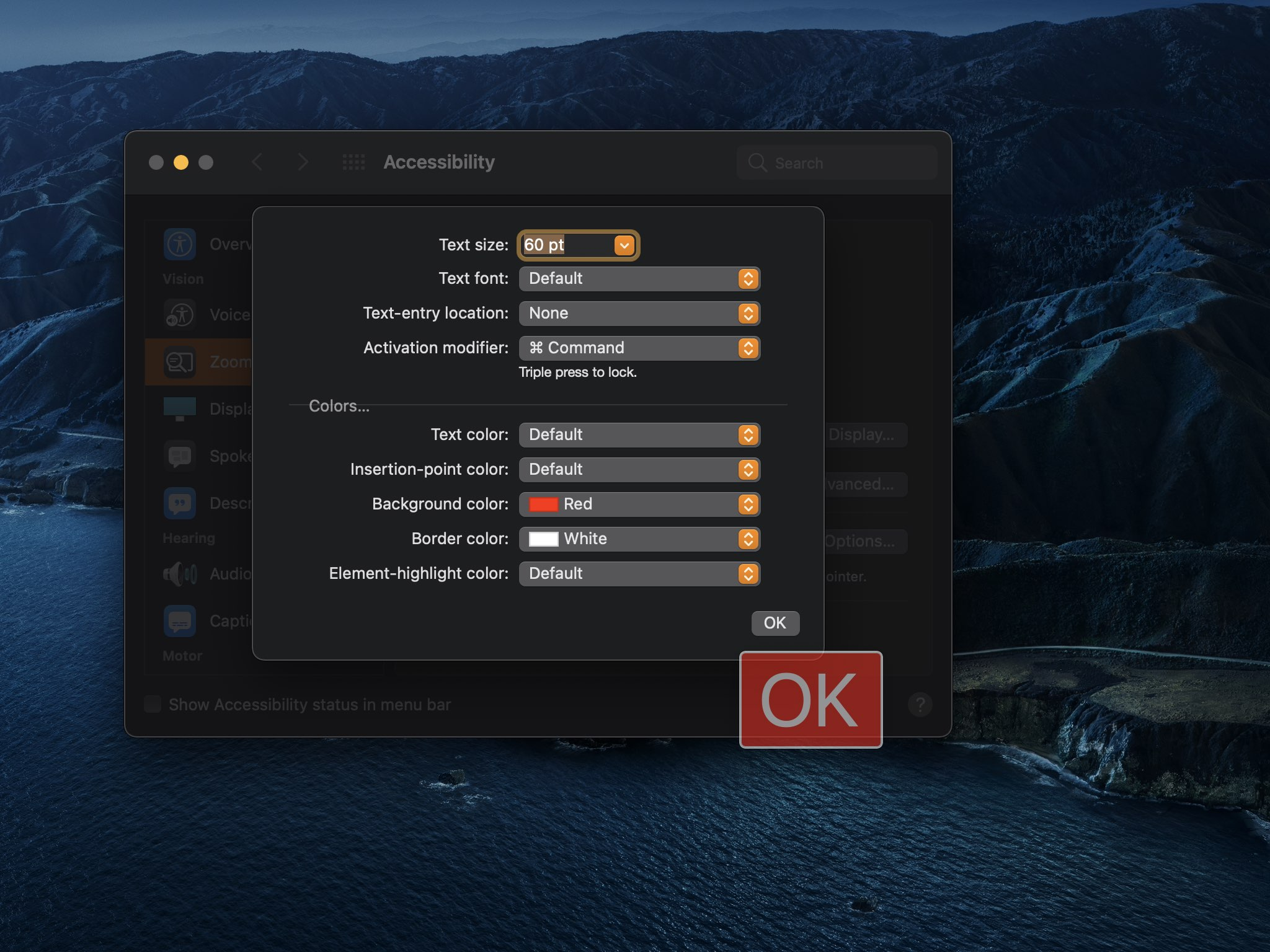 A screenshot showing adjusting the Mac Hover Text window appearance and features on macOS Big Sur