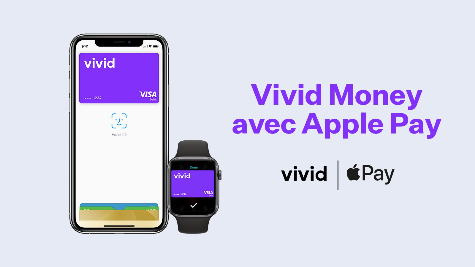 An image announcing Apple Pay support by Vivid Money