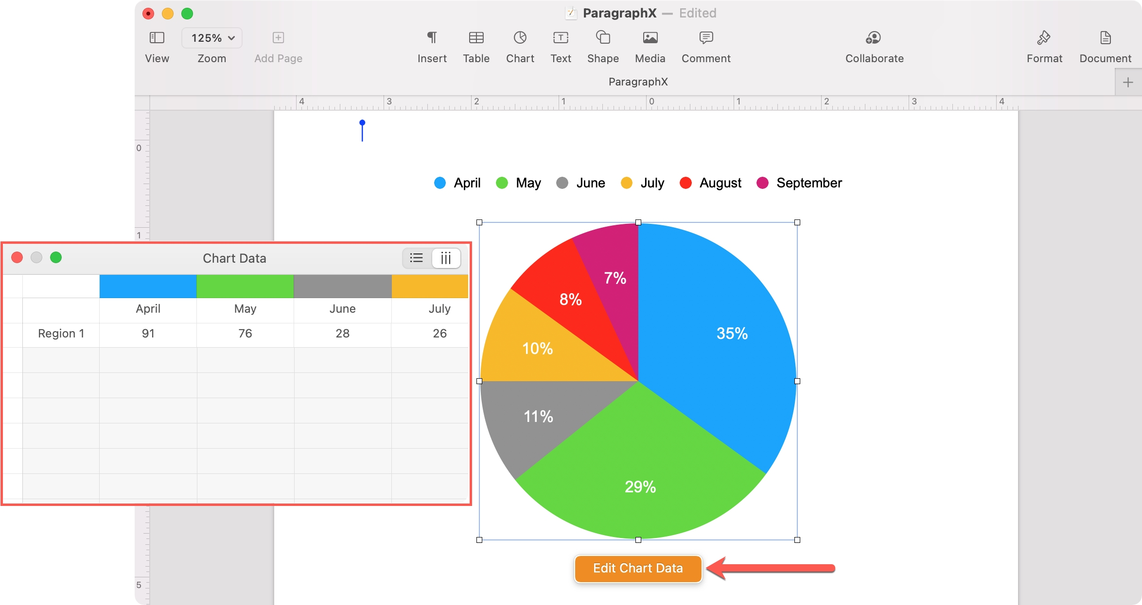 Add Data to a Chart in Pages on Mac