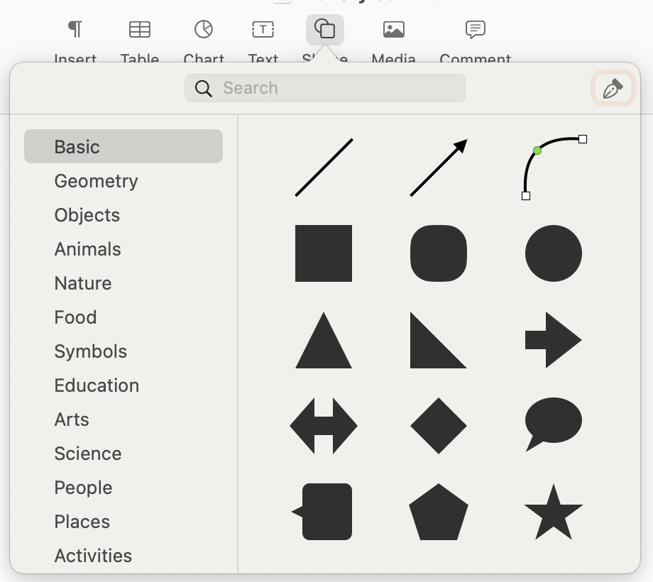 Add a Shape in Pages on Mac